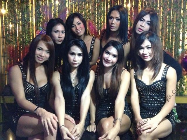Famous Ladyboy Bar Babes In Black Dresses