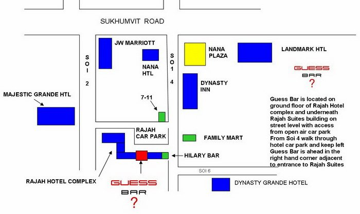 Ladyboy Map For Guess Bar Bangkok